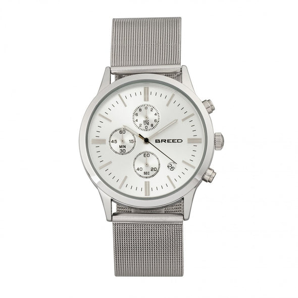 Breed Espinosa Chronograph Mesh-Bracelet Watch w/ Date - Silver BRD7601