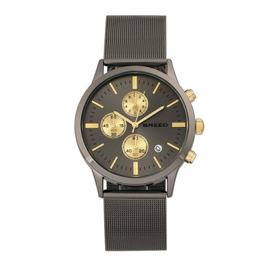 Breed Espinosa Chronograph Mesh-Bracelet Watch w/ Date - Gunmetal BRD7604