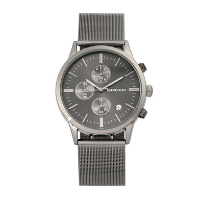 Breed Espinosa Chronograph Mesh-Bracelet Watch w/ Date - Gunmetal/Black BRD7605