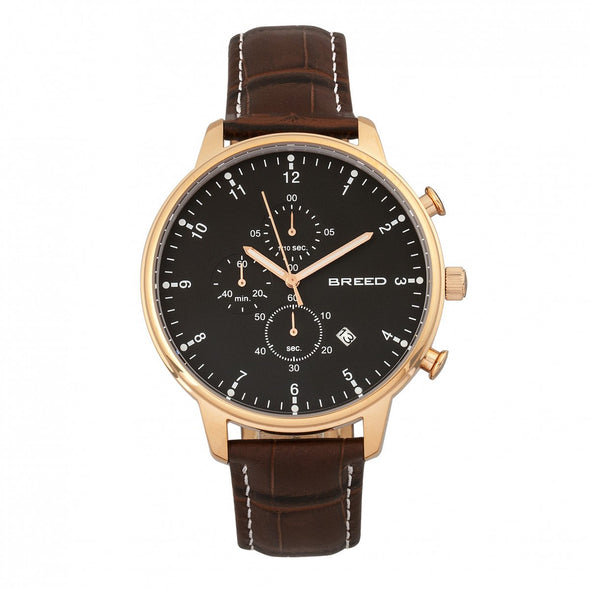 Breed Holden Chronograph Leather-Band Watch w/ Date - Rose Gold/Brown BRD7806