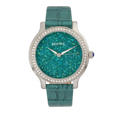 Bertha Cora Crystal-Encrusted Leather-Band Watch - Teal BTHBR6002