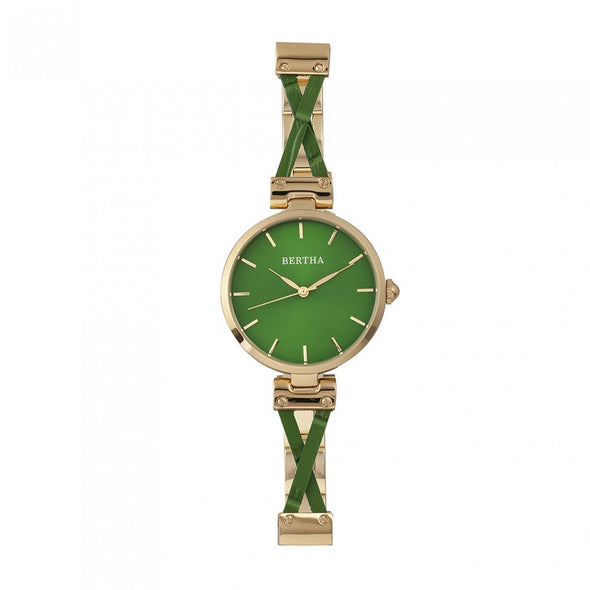 Bertha Amanda Criss-Cross Bracelet Watch - Gold/Green BTHBR7603