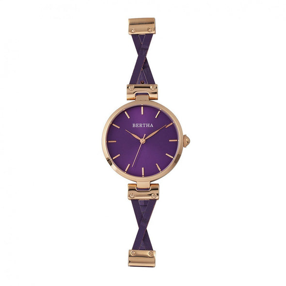 Bertha Amanda Criss-Cross Leather-Band Watch - Rose Gold/Purple BTHBR7606