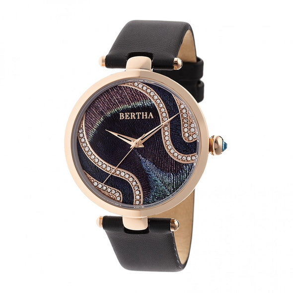 Bertha Trisha Leather-Band Watch w/Swarovski Crystals - Black BTHBR8003