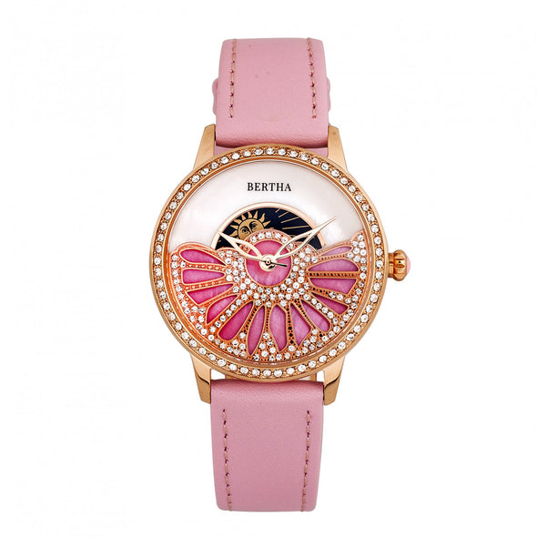 Bertha Adaline Mother-Of-Pearl Leather-Band Watch - Pink BTHBR8206