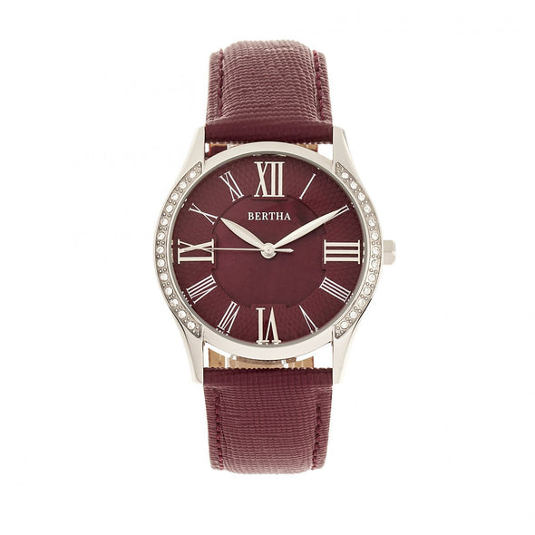 Bertha Sadie Mother-of-Pearl Leather-Band Watch - Burgundy BTHBR8401