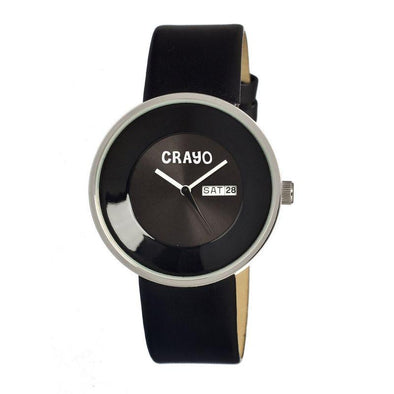 Crayo Button Leather-Band Unisex Watch w/ Day/Date - Black CRACR0207