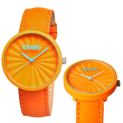 Crayo Pleats Leather-Band Unisex Watch - Orange CRACR1504
