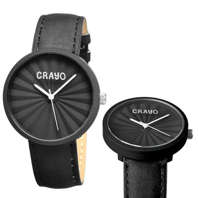 Crayo Pleats Leather-Band Unisex Watch - Black CRACR1506
