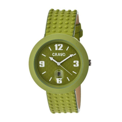 Crayo Jazz Leather-Band Unisex Watch w/ Date - Green CRACR1805
