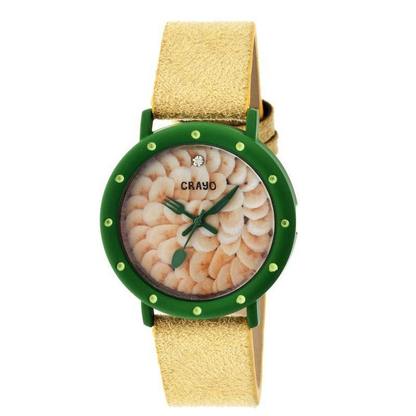 Crayo Slice Of Time Suede-Band Ladies Watch - Green/Yellow CRACR2104