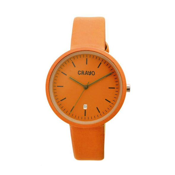 Crayo Easy Leather-Band Unisex Watch w/ Date - Orange CRACR2404
