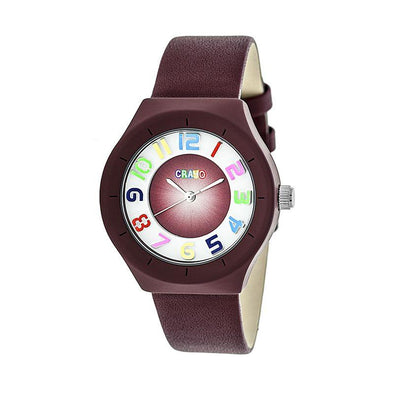 Crayo Atomic Leather-Band Watch - Maroon CRACR3503