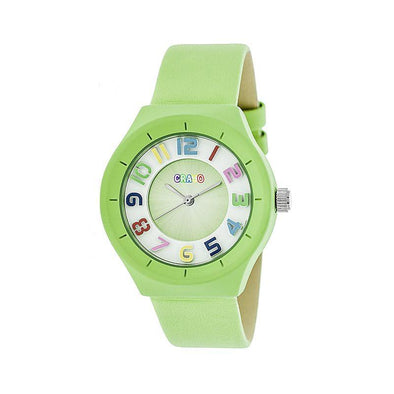 Crayo Atomic Leather-Band Watch - Lime CRACR3504