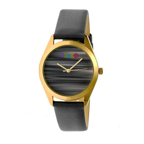 Crayo Graffiti Leather-Band Watch - Gold/Grey CRACR4003