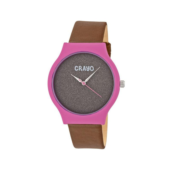 Crayo Glitter Strap Watch - Hot Pink/Brown CRACR4502