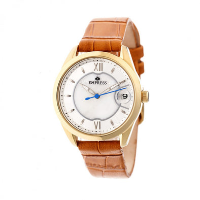 Empress Messalina MOP Leather-Band Watch w/Date - Camel EMPEM2403