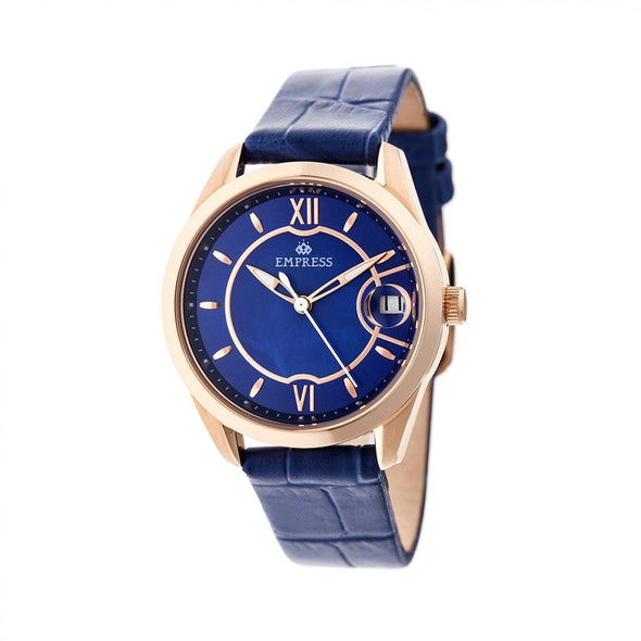 Empress Messalina MOP Leather-Band Watch w/Date - Blue EMPEM2404