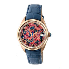 Empress Helena Leather-Band Watch w/Date - Rose Gold/Blue EMPEM1806