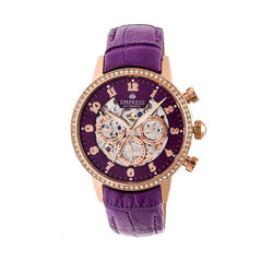 Empress Beatrice Automatic Skeleton Dial Leather-Band Watch w/Day/Date - Rose Gold/Purple EMPEM2006