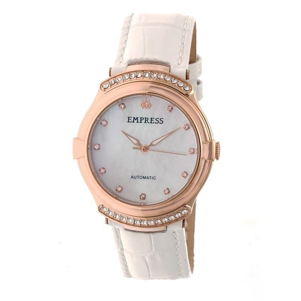 Empress Francesca Automatic MOP Leather-Band Watch - White