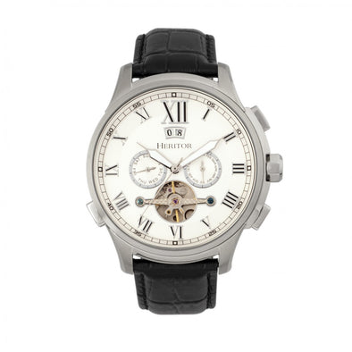 Heritor Automatic Hudson Semi-Skeleton Leather-Band Watch w/Day/Date - Black/White HERHR7501