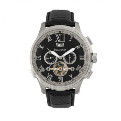Heritor Automatic Hudson Semi-Skeleton Leather-Band Watch w/Day/Date - Black/Silver HERHR7502
