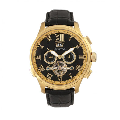 Heritor Automatic Hudson Semi-Skeleton Leather-Band Watch w/Day/Date - Black/Gold HERHR7503