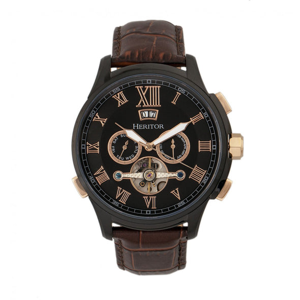 Heritor Automatic Hudson Semi-Skeleton Leather-Band Watch w/Day/Date - Brown/Black HERHR7506