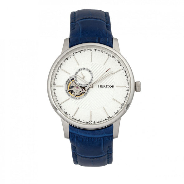 Heritor Automatic Landon Semi-Skeleton Leather-Band Watch - Silver/Blue HERHR7704