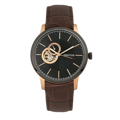 Heritor Automatic Landon Semi-Skeleton Leather-Band Watch - Rose Gold/Brown HERHR7705