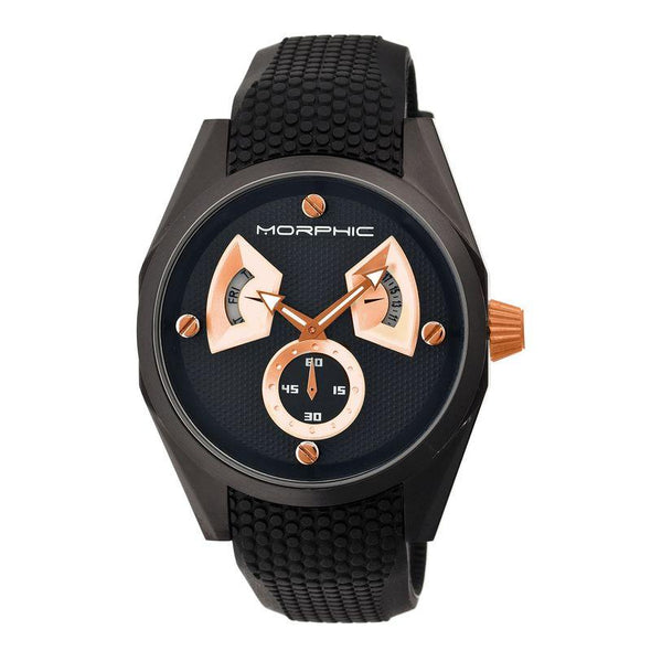Morphic M34 Series Men's Watch w/ Day/Date - Black/Rose Gold MPH3407