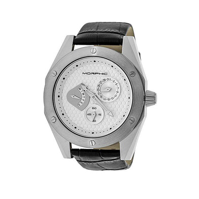 Morphic M46 Series Leather-Band Men's Watch w/Date - Silver MPH4601