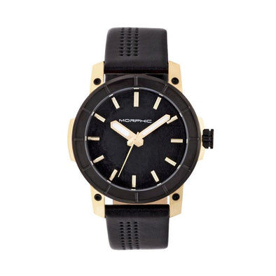 Morphic M54 Series Leather-Band Chronograph Watch - Gold/Black MPH5405
