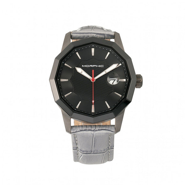 Morphic M56 Series Leather-Band Watch w/Date - Black/Grey MPH5605