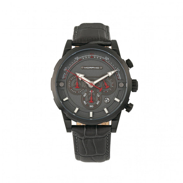 Morphic M60 Series Chronograph Leather-Band Watch w/Date - Black/Charcoal MPH6006