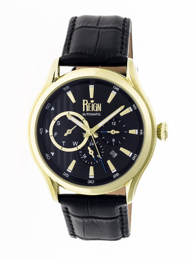 Reign Gustaf Automatic Leather-Band Watch - Black/Gold REIRN1503