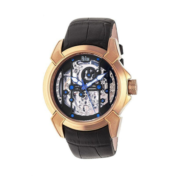 Reign Optimus Automatic Skeleton Leather-Band Watch - Rose Gold/Black REIRN3806