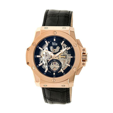 Reign Commodus Automatic Skeleton Leather-Band Watch - Rose Gold/Black REIRN4005