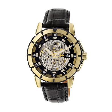 Reign Philippe Automatic Skeleton Leather-Band Watch - Gold/Black REIRN4605