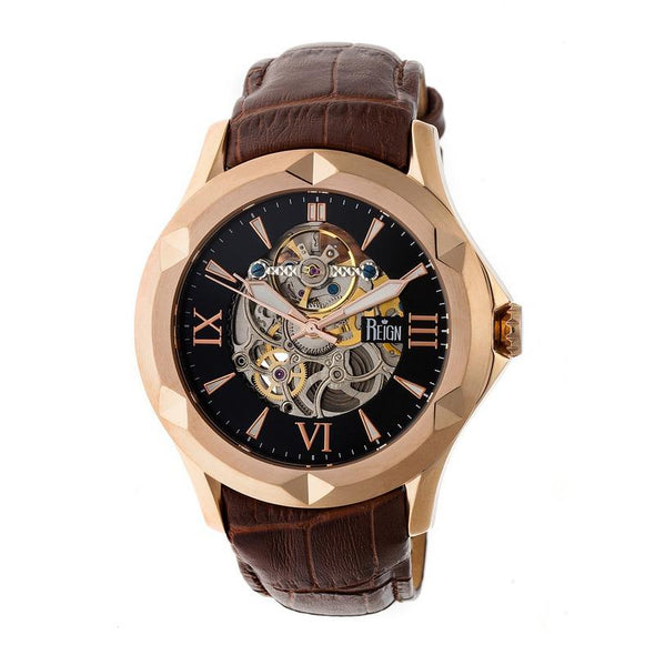 Reign Dantes Automatic Skeleton Dial Leather-Band Watch - Rose Gold/Brown