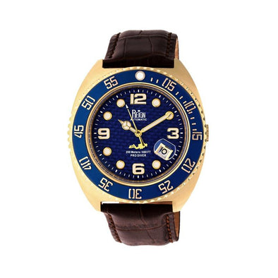 Reign Quentin Automatic Pro-Diver Leather-Band Watch w/Date - Gold REIRN4906