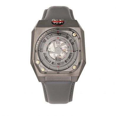Reign Asher Automatic Sapphire Crystal Leather-Band Watch - Gunmetal/Grey REIRN5103