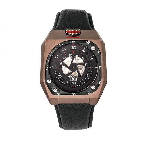 Reign Asher Automatic Sapphire Crystal Leather-Band Watch - Gunmetal/Black REIRN5104