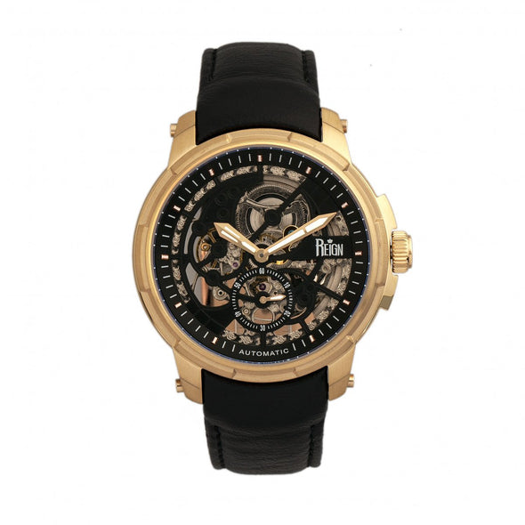 Reign Matheson Automatic Skeleton Dial Leather-Band Watch - Black/Gold REIRN5304