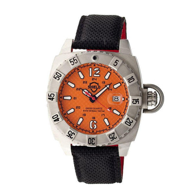 Shield Vujnovich Swiss Men's Diver Watch w/Date - Silver/Orange SLDSH0704