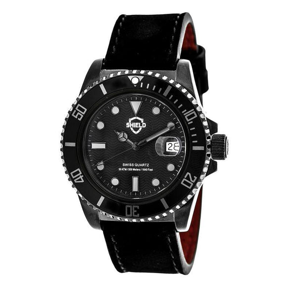 Shield Cousteau Leather-Band Pro-Diver Swiss Watch w/Date - Black SLDSH0808