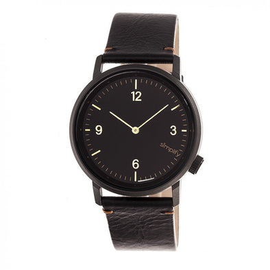 Simplify The 5500 Leather-Band Watch - Black SIM5502