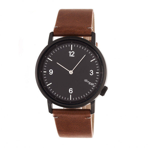 Simplify The 5500 Leather-Band Watch - Black/Brown SIM5505