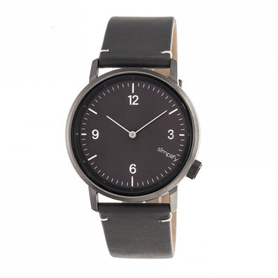 Simplify The 5500 Leather-Band Watch - Gunmetal/Charcoal SIM5506